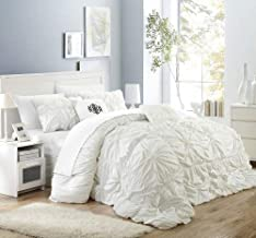 Chic Home Halpert 6 Piece Comforter Set Floral Pinch Pleated Ruffled Designer Embellished Bedding with Bed Skirt and Decor...