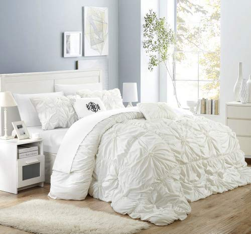 Chic Home Halpert 6 Piece Comforter Set Floral Pinch Pleated Ruffled Designer Embellished Bedding with Bed Skirt and Decorative Pillows Shams Included, Queen White