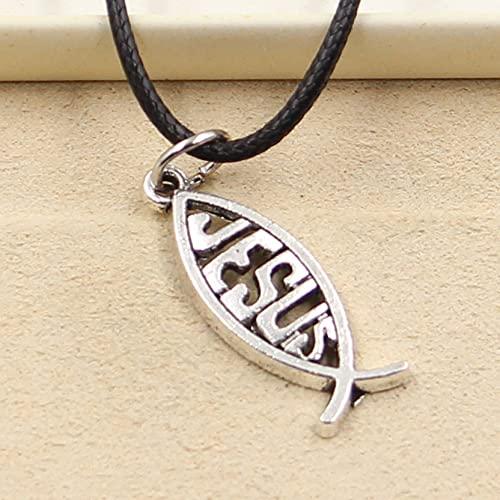 Y-longhair Jesus halsband hänge, Mode tibetansk silver färg hängsmycke fisk Jesus halsband choker charm svart läder sladd fabrik pris handgjorda smycken