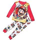 Heißer Cartoon Super Mario Baby Kinder Mädchen Jungen Freizeit Kleidung Sets Nachtwäsche Nachtwäsche Pyjamas Baby Jungen Kleidung Set Baby Jungen Kleidung Set 1-7Y (Mehrfarbig, 6-7...
