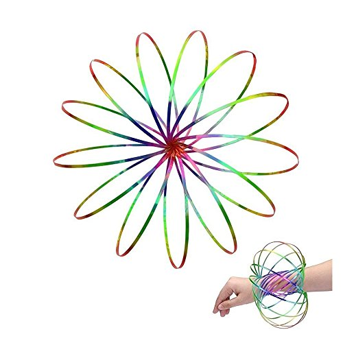 DAYOLY Spinner Ring Arm Slinky Toy Flow Rings Kinetic Spiral Spring Bracelet Arm Magic Flow Rings 3D Ring Spirals Toys For Kids Teens Adults - Spinning Metal Globe Slides Down Arms (Multicolor)