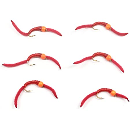 NEW! 2020 Flies RED Blood Worm Per 6- Size #16;  Hot Pattern**
