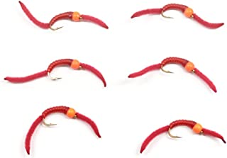 The Fly Fishing Place Trout Nymph Fly - San Juan Worm Power Bead 1/2 Dozen Orange Bead Red V-Rib #10 - Set of 6 Nymph Wet Flies