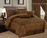 Grand Linen 7 Piece Dark Camel Brown Lavish 106'X 94' Comforter Set Micro Suede Bed in A Bag (California) Cal King Size Bedding