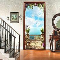 ホームデコレーション用のドアステッカー路地テラスシーナリードア壁画デカール装飾取り外し可能なビニールの3Dドアの壁紙,A