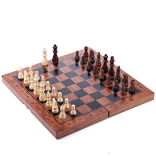 QfireQ Juego de ajedrez de Madera Magnético,Juego de ajedrez de Rompecabezas Plegable y fácil de Llevar Tablero de Juego Portátil con Almacenamiento Interior Plegable,Marrón,34 * 34cm