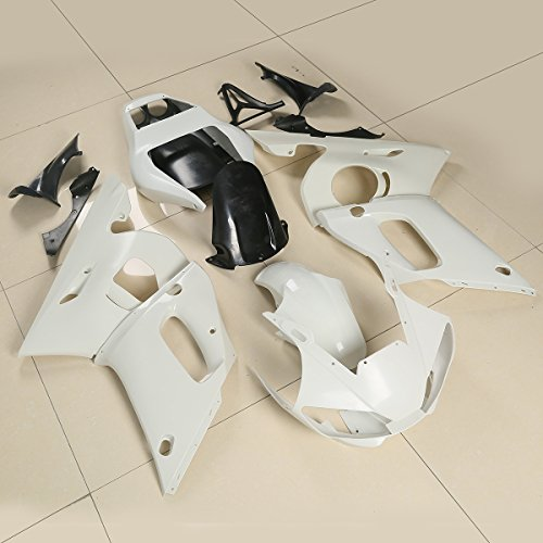XMT-MOTO ABS Injection Fairings Kit BodyWork For YAMAHA YZF 600 R6 YZF-R6 1998 1999 2000 2001 2002(Unpainted White, 1 Set)