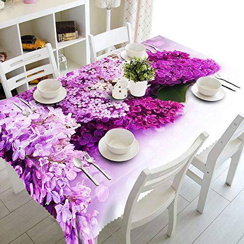 XXDD Mantel Rectangular Impermeable 3D Exquisito Lila púrpura Flores de Lirio para decoración de Mesa de Cocina Mantel A5 150x210cm