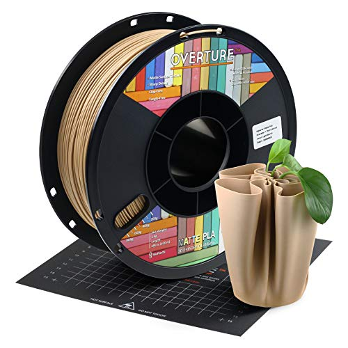 OVERTURE PLA Matte Filament 1.75mm with 3D Printer Build Surface 200mm × 200mm, Maple Wood PLA Roll 1kg Spool (2.2lbs), Dimensional Accuracy +/- 0.05 mm, Fit Most FDM Printer (Light Brown)