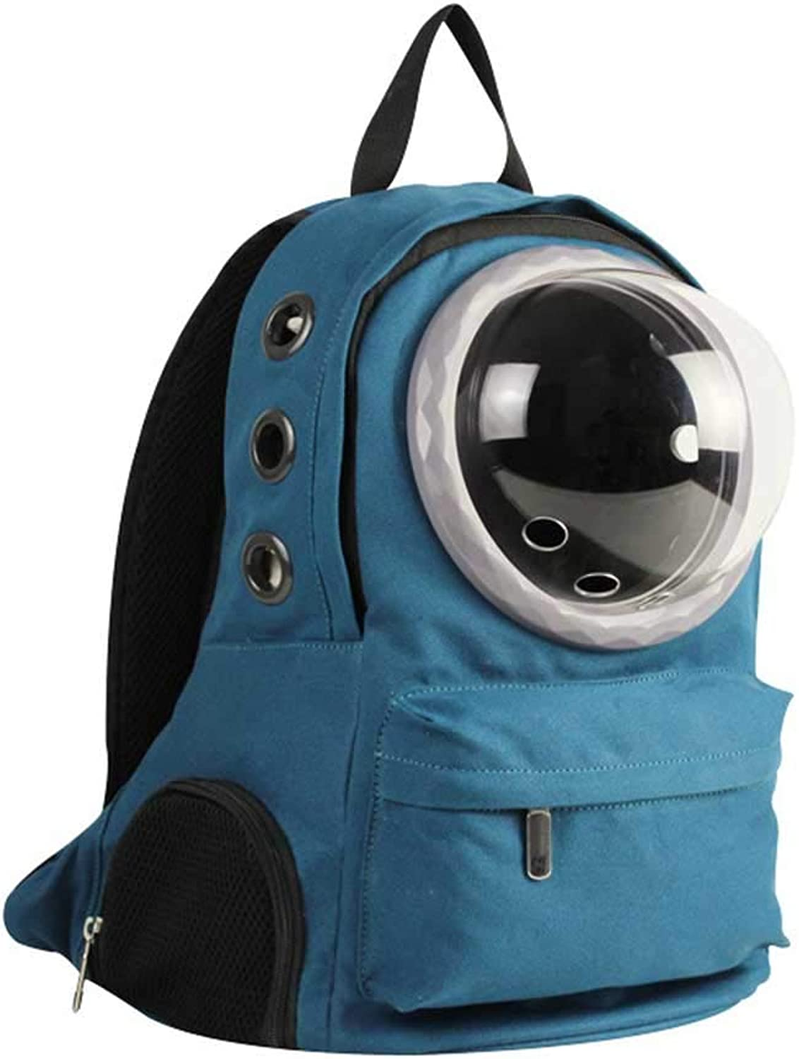Dog Backpack bluee Breathable Canvas Material Travel Hiking Camping Cat and Dog Backpack