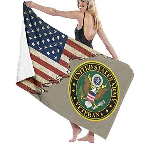 Bokueay US Army Veteran Toalla de Playa Plus Size Beach Towel, Bath Towel, Pool Towels,Microfiber Towel, Shower Towels,Yoga Towels, Quick Dry Towel