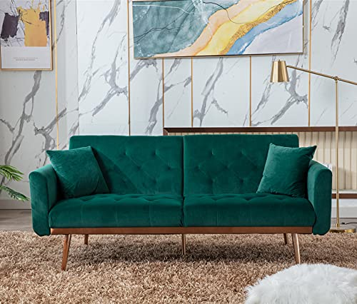 Velvet Futon Sofa Bed with 5 Golden Metal Legs, Sleeper Sofa Couch with Two Pillows, Convertible Loveseat for Living Room and Bedroom, Green