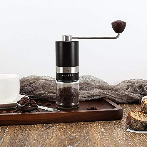 Manual Coffee Grinder,Stainless Steel Portable Conical Burr Grinder-6 Adjustable Setting Hand Crank Coffee Bean Mill for Coffee Gift Espresso,French Press, Aeropress Coffee Grinder, Gifts