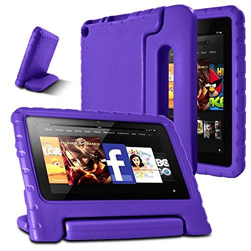 AFUNTA F i r e 7 2015 Caso, Peso Leggero Shock Proof Supporto Cabrio Maniglia EVA Custodia Protettiva per A m z o n F i r e Tablet da 7 Pollici Display (5ª generazione - modello 2015) -Purple