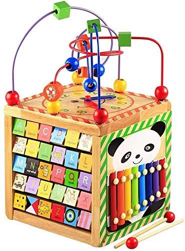 Ljfjf Cubo de actividades de madera con cuentas de laberinto de aprendizaje de juguetes educativos Centro de actividades para niños pequeños, bebés, niños y niñas (laberinto de cuentas)