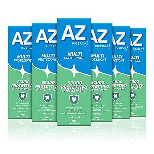 AZ Dentifricio Multi Protezione Scudo Protettivo, Protegge I Denti e Combatte l'Alito Cattivo, 6 x 75 ml