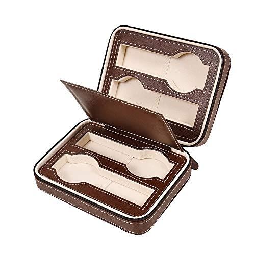 Funda para relojes, caja de vigilancia, 4 ranuras para reloj, joya de visualización, funda de piel de almacenamiento de la caja de la caja bandeja pulsera Faux Brown Jewelry Display
