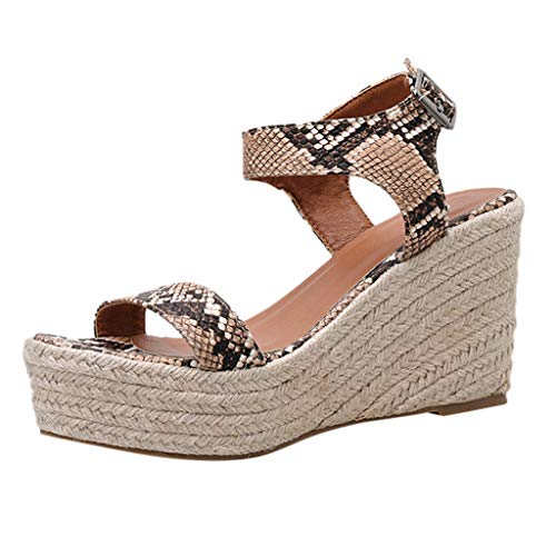 New KCPer Womens Wedge Espadrilles Rope Ankle Strap Open Toe Sandals Snakeskin Peep Toe Ankle Buckle...
