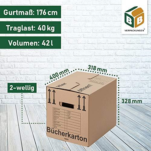 BB-Verpackungen Bücherkartons, 25 Stück, Basic 400 x 330 x 340 mm Bücher Kiste Umzug Karton Box Transport Verpackung - 7