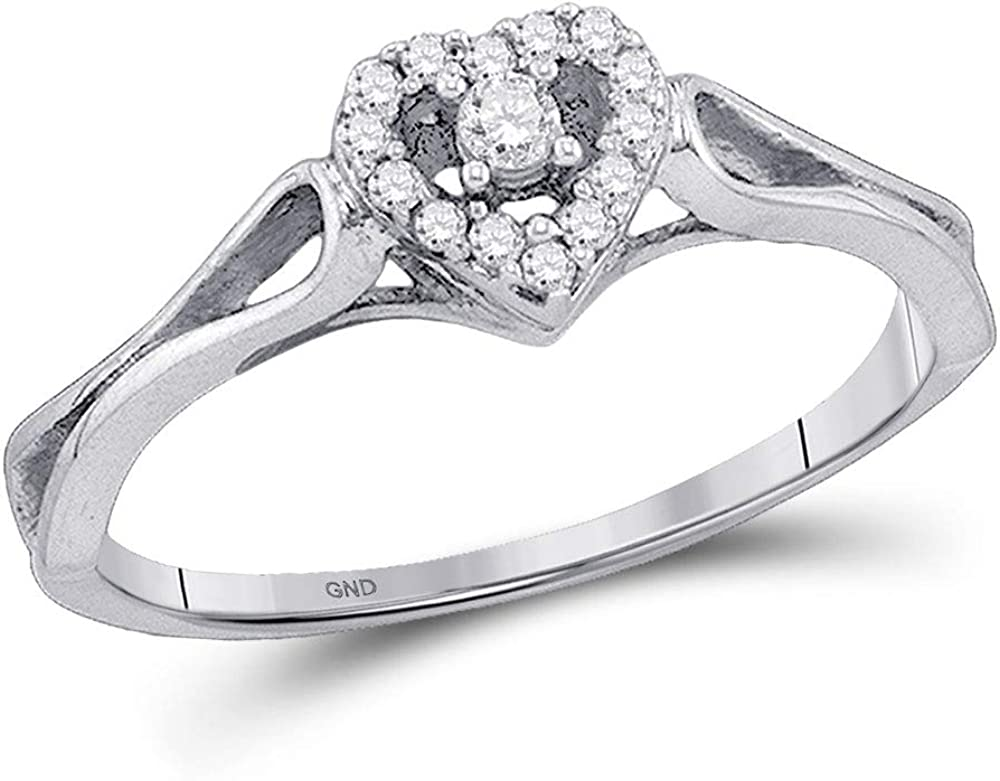 Dazzlingrock Collection 10kt White Gold Womens Round Diamond Heart Promise Bridal Ring 1/10 ctw