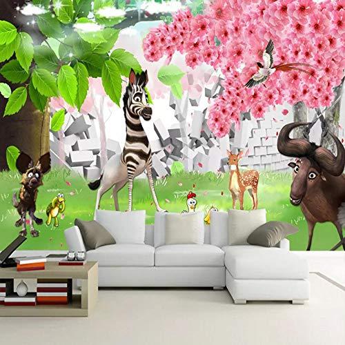 Shuangklei aangepaste fotobehang, wooncultuur, 3D cartoon dier, zebra kinderkamer, slaapkamer, kinderkamer, wanddecoratie, muurafbeelding Papel De Parede 450 x 300 cm.