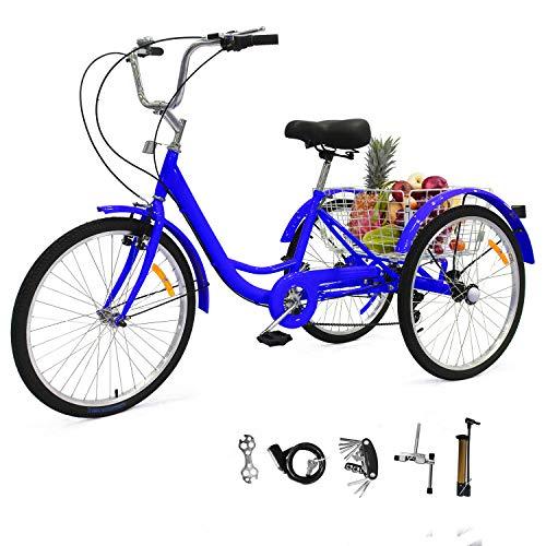 UFLIZOGH 24 Zoll Zahnräder Dreirad für Erwachsene Fahrrad mit Korb 3 Rad Fahrrad für Erwachsene Adult Tricycle Outdoor Sports aus Aluminiumlegierung (Blau)