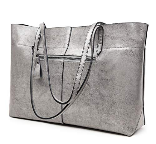 Covelin Women's Handbag Genuine Leather Tote Shoulder Bags Soft Hot Grey