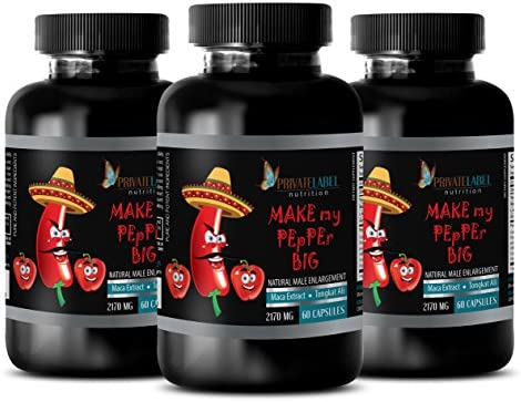 Pills for Men That Work Natural Make My Pepper Big 2170MG Maca Natural 3 Bottle 180 Capsules product image