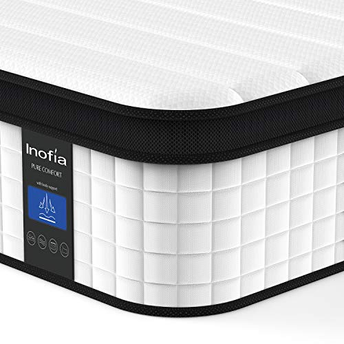 Queen Mattress, Inofia 12 Inch Hybrid Innerspring Double Mattress in a Box, Cool Bed with Breathable Soft Knitted Fabric Cover, CertiPUR-US Certified, 100 Risk-Free Nights Trial