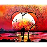 Pintura por números para adultos regalo único amante debajo de la figura del árbol pinturas pigmento acrílico Color lienzo A1 45x60cm