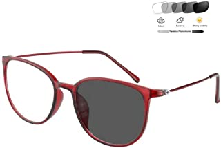 ZTM Reading Glasses Men Women Retro Full Rim Frame 1.56 Optical Aspheric Lens - UV400 Anti-Reflection Sunglasses (+ 1.00 to +6.00 diopters),Red,+200