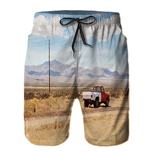 Aerokarbon Hombres Playa Bañador Shorts,Coche Viejo abandonado Desierto Nevada,Traje de baño con Forro de Malla de Secado rápido 4XL