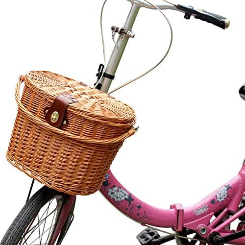 DFBGL Cesta de Bicicleta con Cubierta y asa Caja Delantera de Carga Tejida a Mano de Sauce Transportín para Perros y Gatos