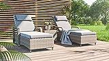 ARTELIA Sandy L Polyrattan Gartenliege mit Beistelltisch - Sonnenliege und Bank für Garten, Terrasse und Balkon, Relaxliege Grau