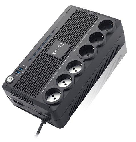 L-Link LL-700-G6 - Batería extraíbles con 6 schukos, Color Negro