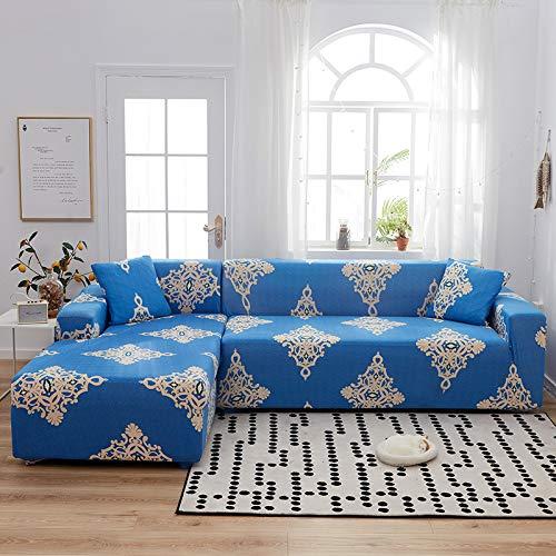 Cubierta completa con todo elástico simple para cuatro personas 235--300cm Azul europeo,Funda de Sofá Cama Brazos, Cubierta para Sofá de sin Reposabrazos Elástico Plegable Moderno de Color Sólido