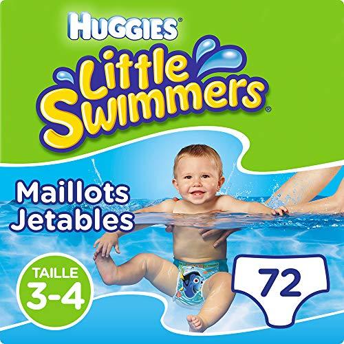 Huggies Maillots de bain jetables pour bébés, Taille 3-4 (7-15 kg), 72 couches-culottes (6 x 12 unités), Unisexe, Maxi pack, Little Swimmers
