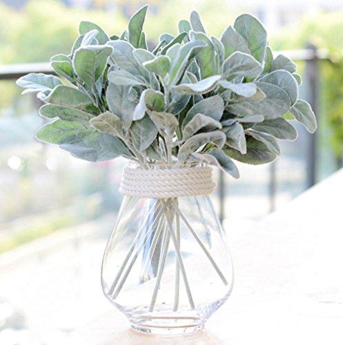 Skyseen 8PCS Artificial Flowers Flocked Rabbit Ear Leaf for Home Decor,Green