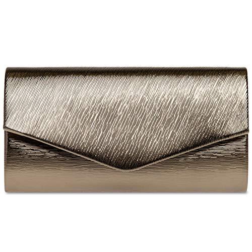 Caspar TA504 elegante Damen Glanz Envelope Clutch Abendtasche, Farbe:taupe, Größe:Einheitsgröße