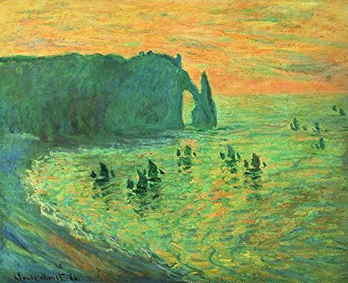 BONNIU Pintura al Óleo Pintada a Mano sobre Lienzo Grande Monet 120X100 cm Paisaje Cuadros Enrollada - Los Acantilados En Etretat