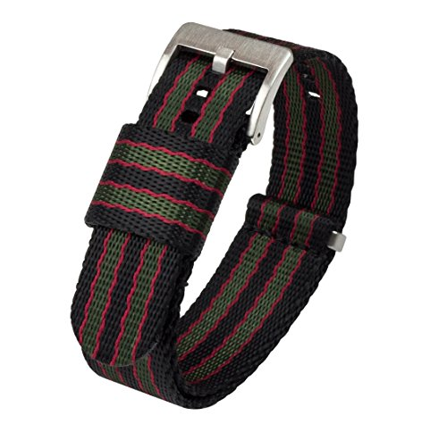 22mm Black/Green/Red (Classic Bond) - BARTON Jetson NATO Style Watch Strap - Stainless Steel Buckle - Seat Belt Nylon Watch Bands