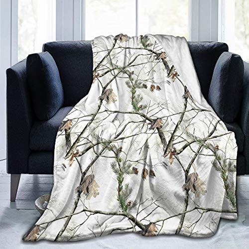 White Realtree Camo Weighted Fuzzy Fleece Blanket Plush Heated Throw Swaddle Blanket Made of Ultra Soft Flannel for Kids and Adult Available in 3 Sizes