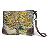 BFDX Monederos Carteras para teléfonos con Embrague Mulberry Tree Leather Small Wristlet Purses Handbag