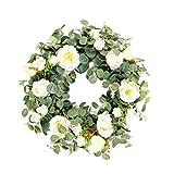 S/V Corona decorativa de madera de eucalipto artificial para colgar en la pared, para bodas, fiestas, jardín, decoración de pared, 40 cm