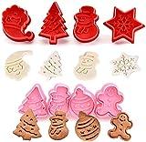 ccfgh Navidad con Temas de Cookie Cutter Set - 8pcs Resorte plástico Mueren pastelería Galletas Juego de moldes 3D de la Galleta de la Torta del Cortador del émbolo Molde de la hornada