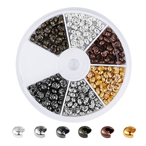 Pandahall 1Box Iron Half Round Open Crimp Beads Covers Knot Covers Beads End Tips for Jewelry Makings