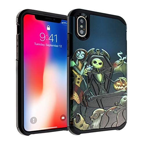 The Nightmare Before Christmas iPhone Xs Case, IMAGITOUCH 2-Piece Style Armor Case with Flexible Shock Absorption Case Cover for iPhone X, iPhone Xs-Nightmare Before Christmas