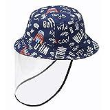 [Y-BOA] ベビー キッズ バケットハット サファリハット キャップ 漁師帽 保護帽子 フェイスシール付き 取り外し可 花粉症対策 UVカット 子供 女の子 男の子 可愛い ネイビー 頭周り54cm