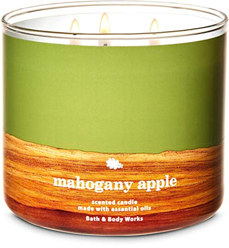 Bath and Body Works White Barn Mahogany Apple 3 Wick Scented Candle 14.5 Ounce Fall 2020 Collection