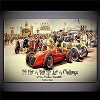 キャンバスペインティング ヴィンテージカーポスターレトロポスタークラシックレーシングカーアートワーク壁アート写真プリントオイルキャンバス絵画ホームリビングルーム装飾 60x80cm